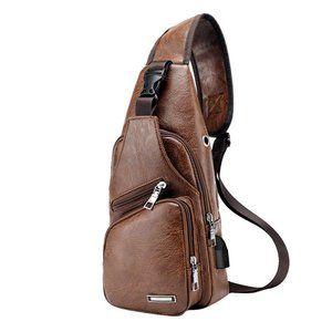 Handbags - Men's Leather Chest Bag Shoulder Pack. light Brown
